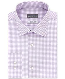 Michael Kors Men's Classic/Regular Fit Non-Iron Airsoft Stretch Performance Purple Check Dress Shirt