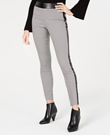 I.N.C. Houndstooth Faux-Leather Skinny Pants, Created for Macy's