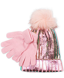 Love 2 Design Little Girls 2-Pc. Metallic Hat With Faux-Fur Pom-Pom & Gloves Set