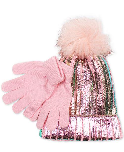 f89b82f54be Love 2 Design Little Girls 2-Pc. Metallic Hat With Faux-Fur Pom-Pom ...