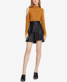 BCBGeneration Tiered Faux-Leather A-Line Skirt