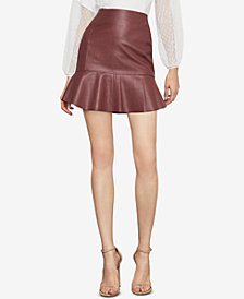 BCBGMAXAZRIA Faux-Leather Flounced Skirt