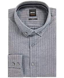 BOSS Men's Slim-Fit Herringbone Cotton Shirt