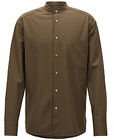 BOSS Men's Relaxed-Fit Stand Collar Cotton Shirt