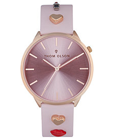 Thom Olson Women's Pink Leather Strap Watch 40mm