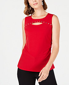 JM Collection Solid Cutout Tank, Created for Macy's