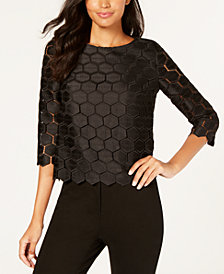 Anne Klein Hexagon-Pattern Ladder-Trim Top