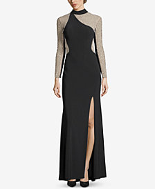 XSCAPE Embellished Illusion Turtleneck Gown