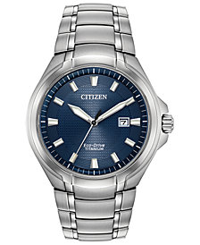Citizen Eco-Drive Men's Paradigm Silver-Tone Super Titanium Bracelet Watch 43mm