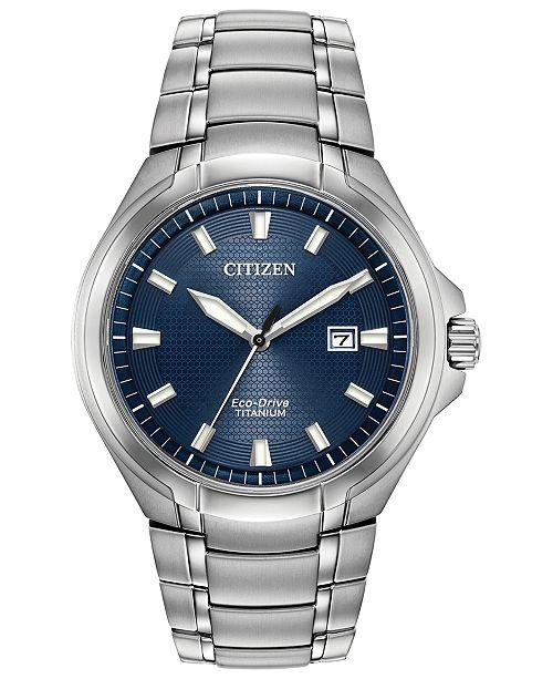Eco-Drive Men's Paradigm Silver-Tone Super Titanium Bracelet Watch 43mm
