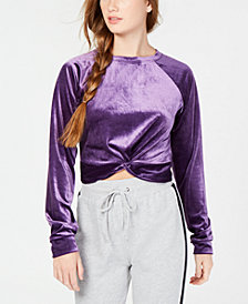 Material Girl Juniors' Twist-Front Velour Sweater, Created for Macy's