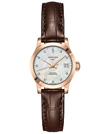 Longines Women's Swiss Automatic Record Diamond Accent Brown Alligator Leather Strap Watch 26mm