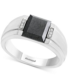 EFFY® Men's Hematite (9 x 7mm) & Diamond Accent Ring in Sterling Silver