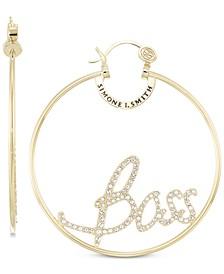 "Crystal ""Boss"" Hoop Earrings in 18k Gold over Sterling Silver"