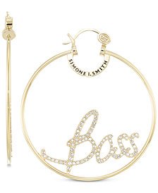 "Simone I. Smith Crystal ""Boss"" Hoop Earrings in 18k Gold over Sterling Silver"