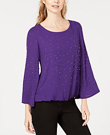 Alfani Petite Embellished Bubble Top, Created for Macy's