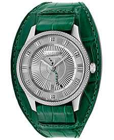 Gucci Men's Swiss Automatic Eryx Green Alligator Leather Cuff Strap Watch 40mm