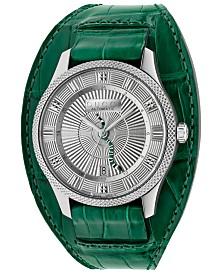Gucci Men's Swiss Automatic Eryx Green Alligator Leather Cuff Strap Watch 40mm