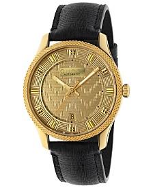 Gucci Men's Swiss Automatic Eryx Black Leather Strap Watch 40mm