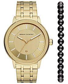 A|X Armani Exchange Men's Maddox Gold-Tone Stainless Steel Bracelet Watch with Diamond 46mm Box Set