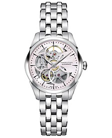 Women's Swiss Automatic Jazzmaster Skeleton Stainless Steel Bracelet Watch 36mm
