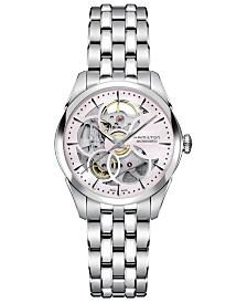 Hamilton Women's Swiss Automatic Jazzmaster Skeleton Stainless Steel Bracelet Watch 36mm