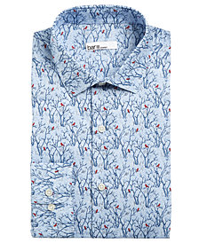 Bar III Men's Slim-Fit Stretch Snow Tree Print Dress Shirt, Created for Macy's
