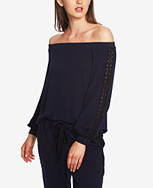 1.STATE Lace-Trim Off-The-Shoulder Top