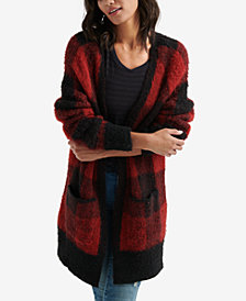 Lucky Brand Patch-Pocket Plaid Cardigan