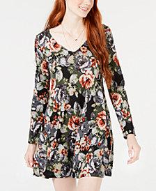 BCX Juniors' Floral-Chiffon Lace-Back Dress