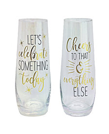 TMD Holdings Celebrate Something Cheer Luster 2-Pc. Stemless Flutes