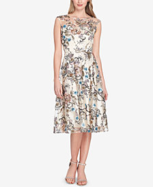 Tahari ASL Embroidered-Floral Sequined Fit & Flare Dress
