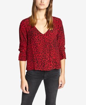 Animal Print Smock Detail Blouse in Red Leopard