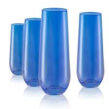 Artland Set of 4 9oz. Luster Blue Stemless Flutes