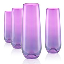 Artland Set of 4 9oz Luster Purple Stemless Flutes