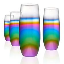 Artland Rainbow 12 oz. Stemless Flutes, Set of 4.