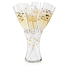 Gold Stars 7Pc Toasting Flute Set
