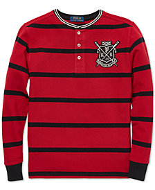 Polo Ralph Lauren Big Boys Striped Mesh Cotton Henley Shirt