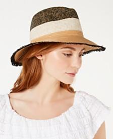 I.N.C. Tweedy Colorblocked Panama Hat, Created for Macy's