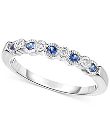 Sapphire (1/5 ct. t.w.) and Diamond Accent Band in 14k White Gold