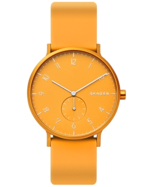 Skagen UNISEX AAREN ALUMINUM YELLOW SILICONE STRAP WATCH 41MM CREATED FOR MACY'S