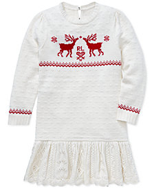 Polo Ralph Lauren Little Girls Reindeer Sweater Dress