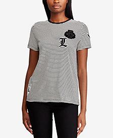 Lauren Ralph Lauren Striped Patch T-Shirt