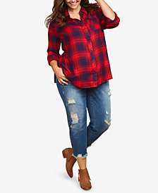 Jessica Simpson Maternity Plus Size Distressed Girlfriend Jeans