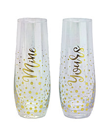 TMD Holdings Mine Yours Confetti Luster 2-Pc. Stemless Flutes