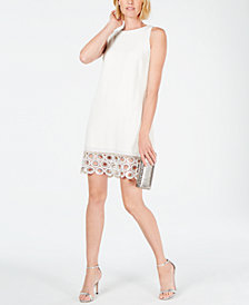 MSK Embellished-Crochet-Hem Shift Dress