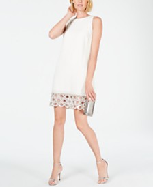 MSK Embellished-Crochet-Hem Shift Dress