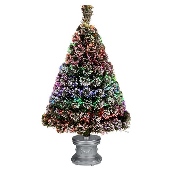 "National Tree Company National Tree 36"" Fiber Optic Evergreen Flocked Tree"