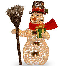 "National Tree PreLit 27"" White Rattan Snowman"