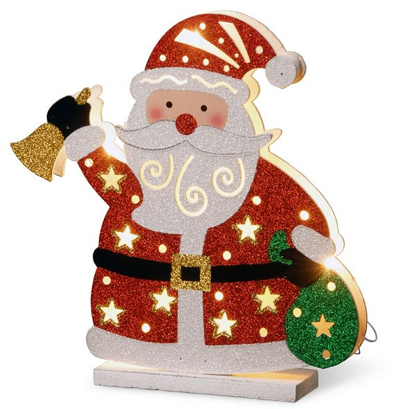 "National Tree Company National Tree PreLit 12"" Wooden Santa"